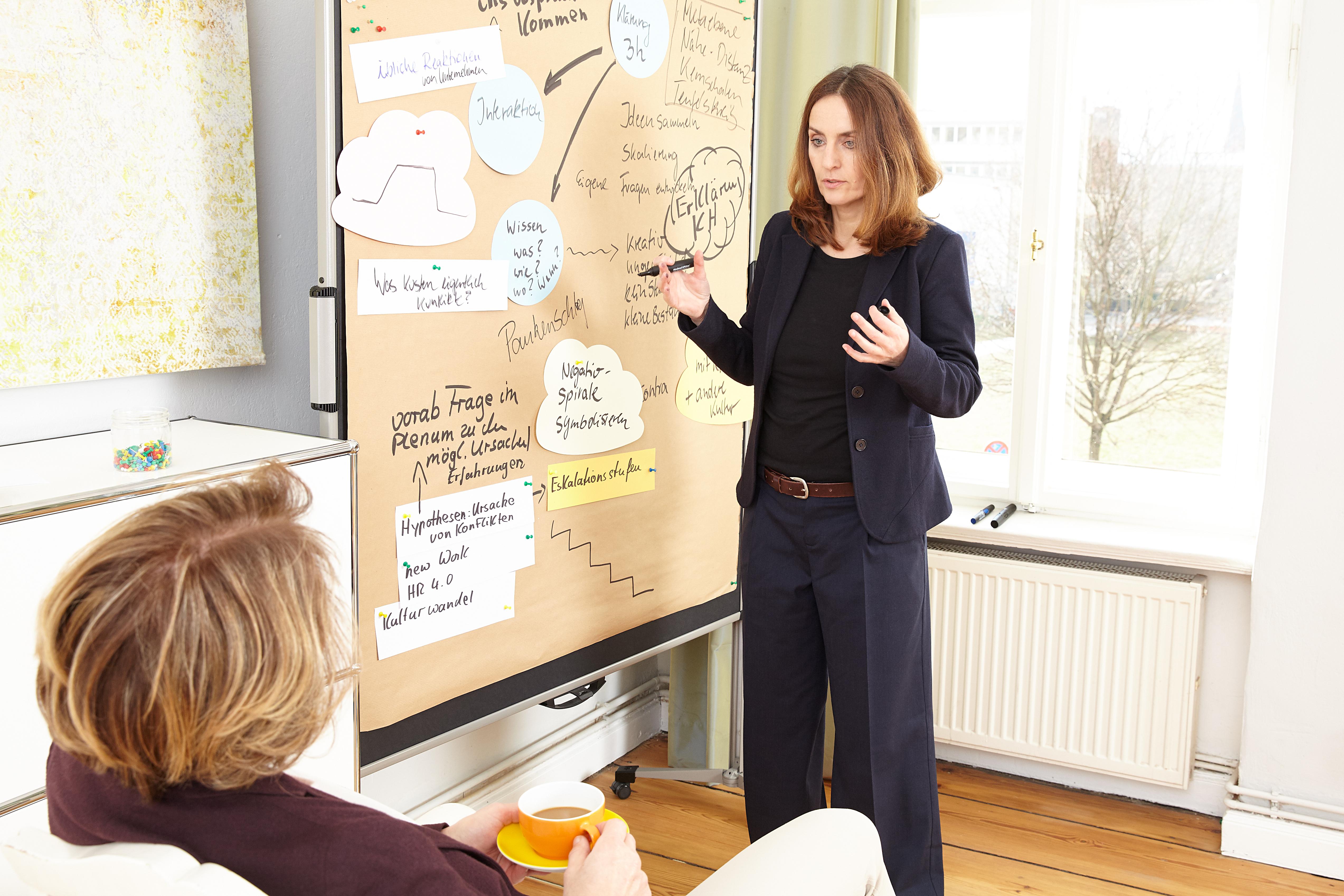 Kathrin Swoboda im Coaching neben einer Metaplanwand, um Inhalte des Coachings zu visualisieren.